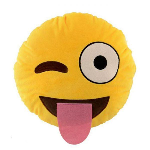 Winking with Tongue Emoji Cusion