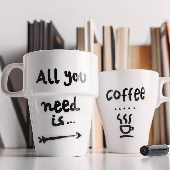 """Handmade Cups in Nagpur With Inscription """"All You Need Is…"""""""